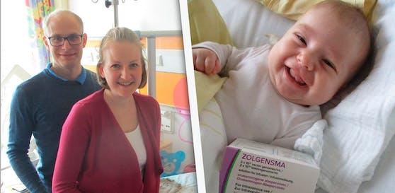 Wolfgang (34) und Lisa (30) Ortbauer sind dankbar, dass ihre Julia das 2-Millionen-Euro Medikament erhielt.