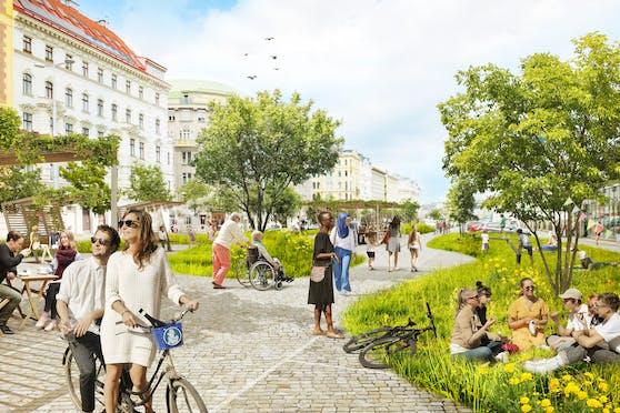 Viel Grün und ohne Dach – so stellen sich die Grünen den neuen Naschmarkt vor.