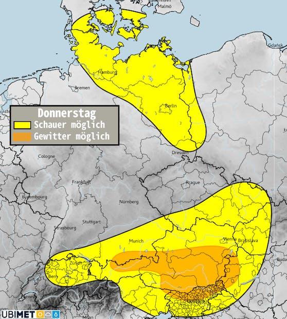 Schauer- und Gewitterrisiko am Donnerstag.