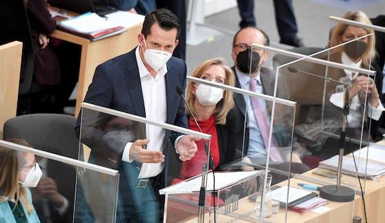 Sozial- und Gesundheitsminister Wolfgang Mückstein (Grüne) am Mittwoch im Nationalrat.