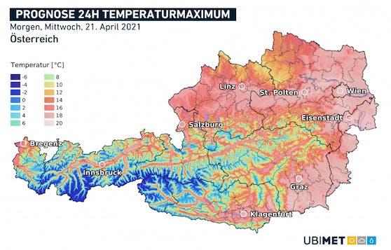 Temperaturmaxima für Mittwoch, den 21. April.