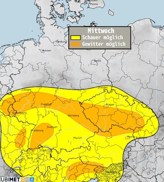 Schauer- bzw. Gewitterwahrscheinlichkeit für Mittwoch, 21. April.