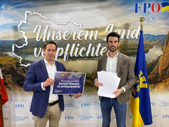 FPÖ-Wirtschaftssprecher Landtagsabgeordneter Reinhard Teufel und FP-Klubobmann Udo Landbauer.