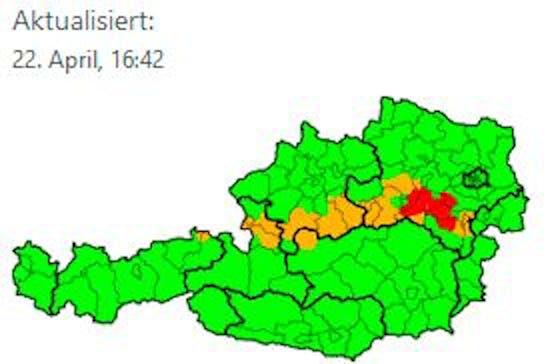 Warnstufe Rot in Niederösterreich.