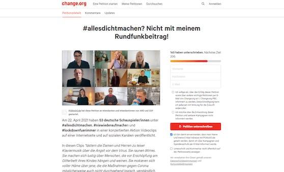 """Die Petition """"#allesdichtmachen? Nicht mit meinem Rundfunkbeitrag!"""" auf change.org fordert, dass """"ARD"""" und """"ZDF"""" die Initianten der Social-Media-Aktion boykottieren."""