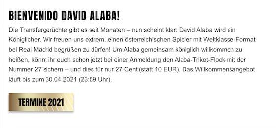 David Alaba wird vorgestellt.