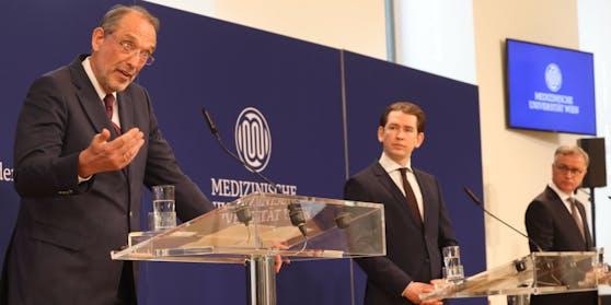 Bildungsminister Faßmann, Kanzler Kurz, MedUni-Rektor Müller