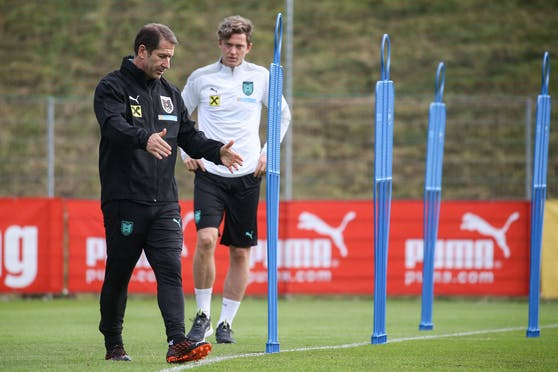 ÖFB-Teamchef Foda mit Stürmer Gregoritsch