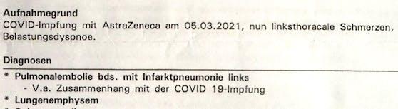 """Die behandelnde Ärztin vermerkte einen """"Verdacht auf Zusammenhang mit Covid 19-Impfung"""" in ihrer Diagnose"""