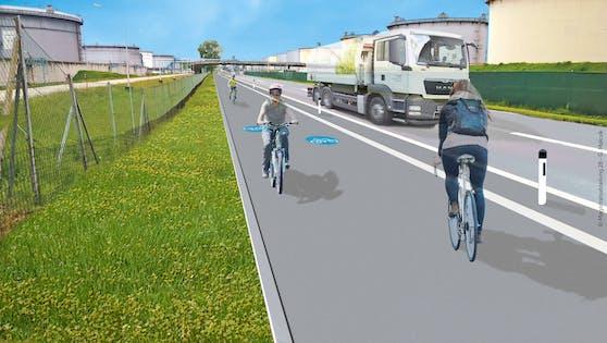 So soll der neue Radweg in der Lobgrundstraße (Donaustadt) aussehen.