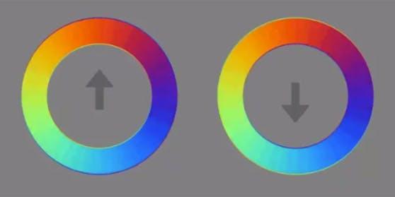 Diese beiden bunten Kreise sorgen für eine optische Täuschung.