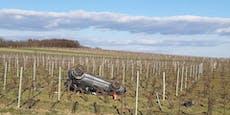 Lenkerin (21) landete auf dem Dach im Weingarten