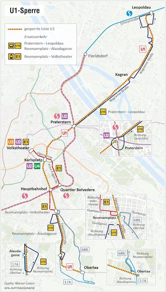 Am Sonntag, dem 11. April ist die U1 wegen Revisionsarbeiten nur eingeschränkt unterwegs.