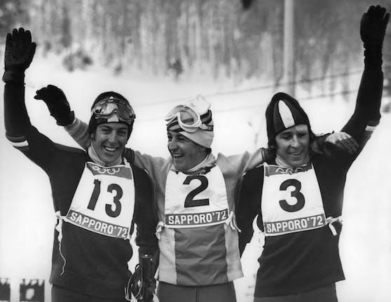 Roland Thöni jubelte 1972 über Olympia-Bronze. Der Spanier Francisco Fernandez Ochoa (Mitte) gewann vor seinem Cousin Gustav Thöni.