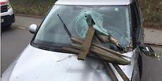 Zaunpfahl bohrt sich bei Unfall durch Windschutzscheibe