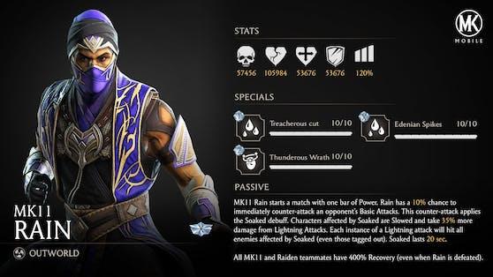 """Charakter """"MK11 Rain"""" erscheint zur Feier des 6. Jubiläums in """"Mortal Kombat Mobile""""."""