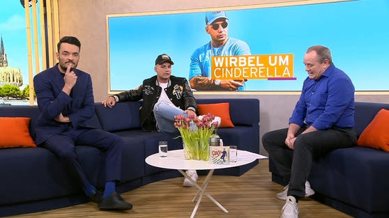 """Pietro Lombardi (Mitte) wird bei """"Guten Morgen Deutschland"""" live mit den Plagiatsvorwürfen konfrontiert."""