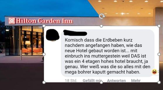 Fb-User gibt Hilton Inn Garden in Wr. Neustadt Schuld am Erdbeben.