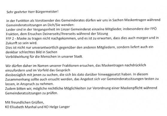 Mit diesem Brief wendeten sich ÖVP und Grüne an Bürgermeister Klaus Luger.