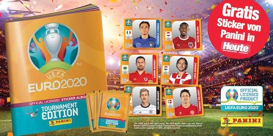 """Hol' dir die brandneuen Sticker der Tournament EditionUEFA EURO 2020™ in der Tageszeitung """"Heute""""."""