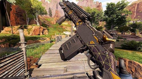 Waffen und Co. sind detailliert, am Bildrand gibt es aber Pixel-Matsch.
