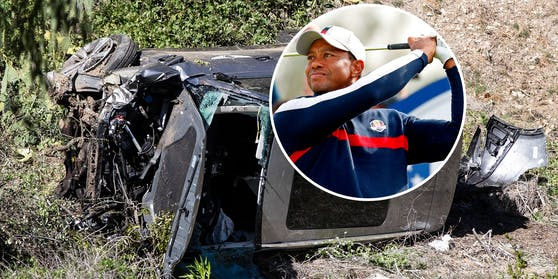 Tiger Woods und das Wrack des Unfall-Autos