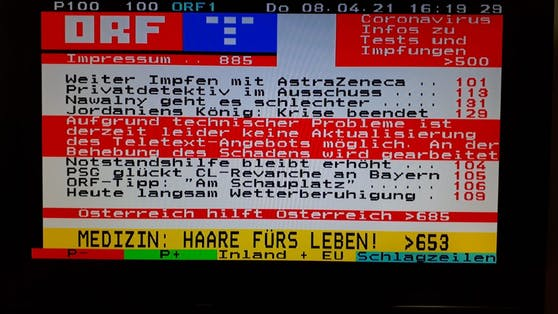 Der ORF Teletext ist derzeit nur eingeschränkt verfügbar.
