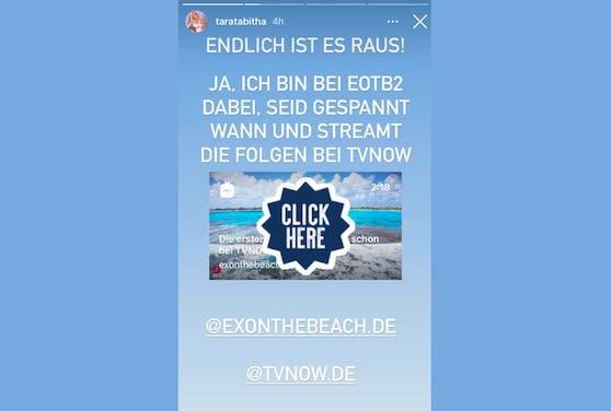 Taras Ankündigung auf Instagram