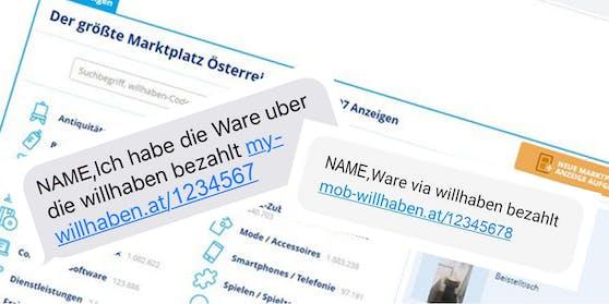Vorsicht vor Cyber-Betrügern: So sieht beispielsweise die gefälschten Willhaben-Website aus. Sämtliche Kommunikation und alle Informationen zu Zahlungen und Versand von PayLivery-Anzeigen, findest du ausschließlich eingeloggt.