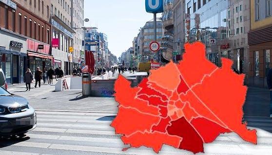 So unterschiedlich ist die Zahl der Corona-Infizierten in den Wiener Bezirken.
