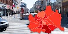 Favoriten dunkelrot – die neue Corona-Karte für Wien