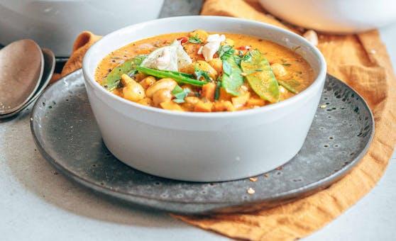 Kichererbsen-Gemüse-Curry zubereitet mit Zutaten von Blue Elephant