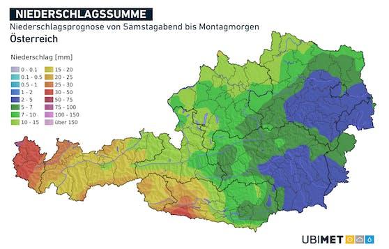Niederschlagsprognose von Samstagabend bis Montagmorgen.