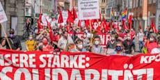 """Trotz Corona: 350 """"Rote"""" bei 1.Mai-Demo in Innenstadt"""