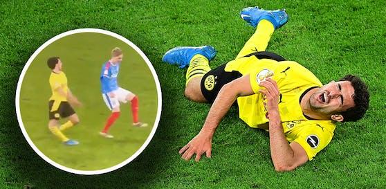 Mateu Morey stürzt schreiend zu Boden.