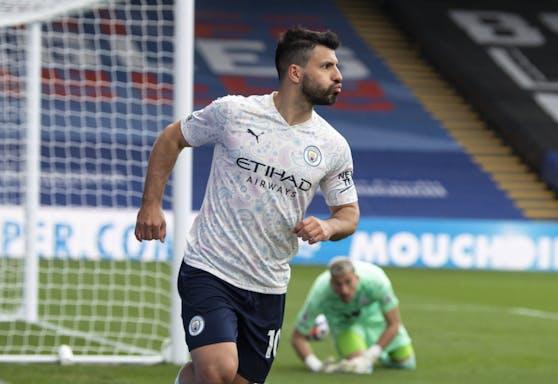 Sergio Aguero bejubelt seinen Treffer.