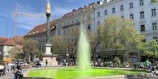 Wer hat in Graz die Brunnen über Nacht grün eingefärbt?