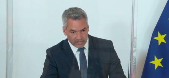 Nehammer im Rahmen der Pressestatements nach dem Ministerrat am 12. Mai 2021