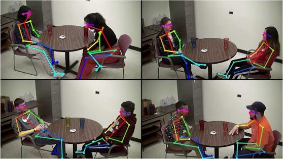 Computer-Vision-Algorithmen erkannten die relative Position der Körper der Teilnehmer aus dem Video der Interaktion.