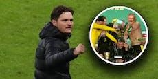 Bierdusche für Coach: Haaland und Co. crashen Terzic-PK