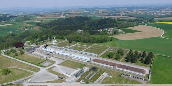 Eine Luftaufnahme des ehemaligen Konzentrationslagers (KZ) Mauthausen