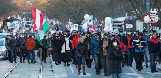 Eine Corona-Demo in Wien.