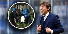 Conte und Inter-Stürmer tragen Boxkampf im Training aus
