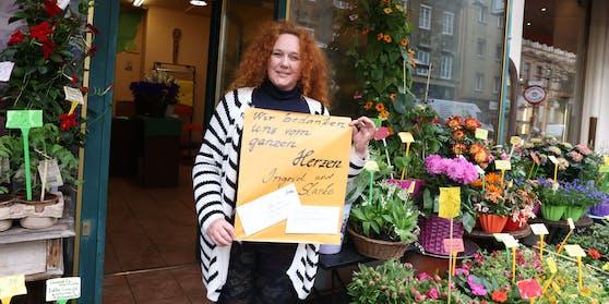 Ingrid (50) bedankt sich bei Spendern.