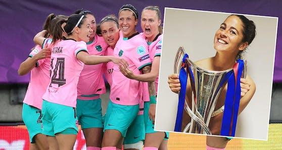 Barca-Spielerin Marta Torrejon jubelt nackt mit dem Champions-League-Pokal