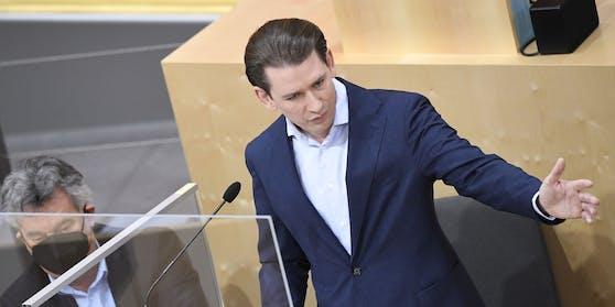 Sebastian Kurz am Montag im Nationalrat.