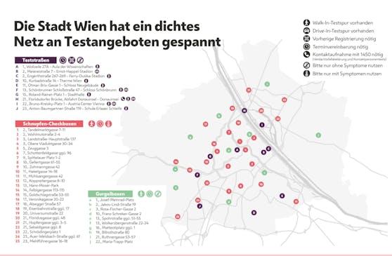 """Die Stadt Wien baut ihr Netz an Testangeboten aus: Zu den zehn Teststraßen und 25 """"Schnupfen-Boxen"""" kommen nun auch zehn """"Gurgelboxen"""" dazu. Alle Standorte finden sich auch hier."""