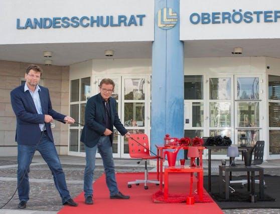 Gemeinsam mit Rudi Anschober (re.) prägte Gottfried Hirz die grüne Politik in Oberösterreich.