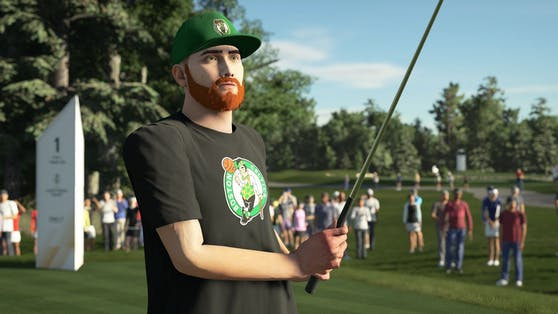 """""""PGA TOUR 2K21"""" locht mit NBA Team-Logos auf der """"Mein SPIELER""""-Ausrüstung einen Slam Dunk ein."""