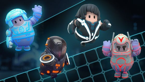 """Die """"Tron""""-Outfits in """"Fall Guys""""."""